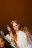Models walk the runway finale during the Alberta Ferretti show as a part of Milan Fashion Week Stock Images