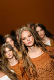 Models walk the runway finale during the Alberta Ferretti show as a part of Milan Fashion Week Royalty Free Stock Photo