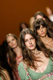 Models walk the runway finale during the Alberta Ferretti show as a part of Milan Fashion Week Royalty Free Stock Photos
