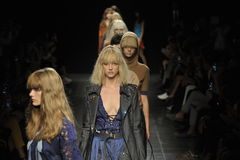 Models walk the runway finale at the Angelo Marani Show during Milan Fashion Week Stock Photography