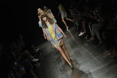 Models walk the runway finale at the Angelo Marani Show during Milan Fashion Week Royalty Free Stock Images