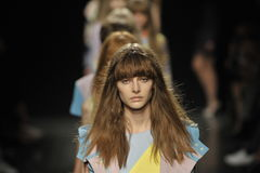 Models walk the runway finale at the Angelo Marani Show during Milan Fashion Week Stock Photos