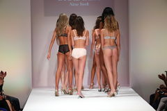 Models walk the runway finale at the Bradelis fashion show Stock Photos