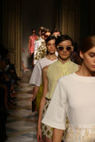 Models walk  runway finale during the Chicca Lualdi show as a part of Milan Fashion Week Royalty Free Stock Photography