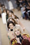 Models walk the runway finale during the Chloe show. PARIS, FRANCE - MARCH 03: Models walk the runway finale during the Chloe show as part of the Paris Fashion Royalty Free Stock Images