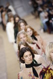 Models walk the runway finale during the Chloe show. PARIS, FRANCE - MARCH 03: Models walk the runway finale during the Chloe show as part of the Paris Fashion Royalty Free Stock Image