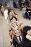 Models walk the runway finale during the Chloe show. PARIS, FRANCE - MARCH 03: Models walk the runway finale during the Chloe show as part of the Paris Fashion Royalty Free Stock Photography