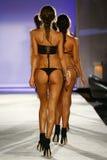 Models walk runway finale in designer swim apparel during the Indah Swimwear fashion show stock image