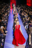 Models walk the runway finale during the Elie Saab show Royalty Free Stock Photos