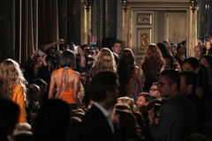 Models walk the runway finale at the Emilio Pucci show as a part of Milan Fashion Week Stock Photos