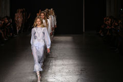 Models walk the runway finale during the Francesco Scognamiglio show as part of Milan Fashion Week Stock Photo