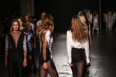 Models walk the runway finale during the Francesco Scognamiglio show as part of Milan Fashion Week Royalty Free Stock Images