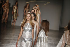 Models walk the runway finale during the Genny show. MILAN, ITALY - SEPTEMBER 23: Models walk the runway finale during the Genny show as a part of Milan Fashion Royalty Free Stock Photos