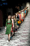 Models walk the runway finale during the Gucci show. MILAN, ITALY - SEPTEMBER 23: Models walk the runway finale during the Gucci show as a part of Milan Fashion Royalty Free Stock Photos