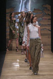 Models walk the runway finale during the Guy Laroche show Royalty Free Stock Photos