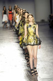 Models walk the runway finale during the Les Copains fashion show Stock Photos