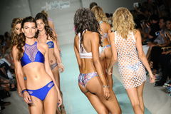 Models walk the runway finale during Luli Fama Spring Summer 2017 Runway Show. MIAMI, FL - JULY 16: Models walk the runway finale during Luli Fama Spring Summer Royalty Free Stock Photography