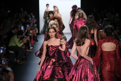 Models walk the runway finale at the Michael Costello fashion show Stock Image