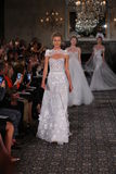Models walk the runway finale at the Mira Zwillinger Spring 2015 Bridal collection show Royalty Free Stock Photo