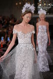 Models walk the runway finale at the Mira Zwillinger Spring 2015 Bridal collection show Stock Images