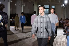 Models walk the runway finale during the N. Hoolywood Runway Stock Photo