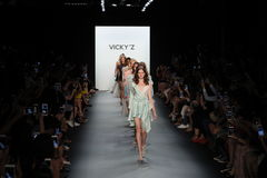 Models walk the runway finale at the Vicky Zhang Parent Child Collection S/S 2017. NEW YORK, NY - SEPTEMBER 10: Models walk the runway finale at the Vicky Zhang Stock Photography