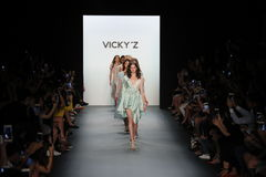 Models walk the runway finale at the Vicky Zhang Parent Child Collection S/S 2017. NEW YORK, NY - SEPTEMBER 10: Models walk the runway finale at the Vicky Zhang Royalty Free Stock Photos