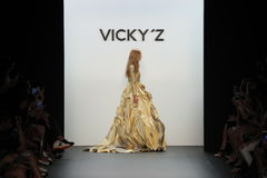Models walk the runway finale at the Vicky Zhang Parent Child Collection S/S 2017 Royalty Free Stock Photos