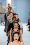 Models walk the runway finale wearing Carolina Herrera Fall 2015 Collection Stock Photos