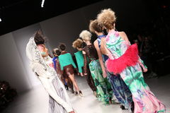 Models walk the runway at the FTL Moda fashion show during Mercedes-Benz Fashion Week Fall 2015 Royalty Free Stock Photography