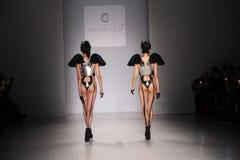 Models walk the runway at the FTL Moda fashion show during Mercedes-Benz Fashion Week Fall 2015 Royalty Free Stock Photos