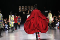 Models walk the runway during the Issey Miyake show Stock Image