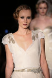 Models walk runway at Johanna Johnson runway Show during Fall 2015 Bridal Collection Stock Images