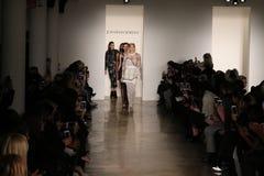 Models walk the runway at Jonathan Simkhai fashion show during MADE Fashion Week Fall 2015 Royalty Free Stock Photography