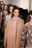 Models walk the runway at Jonathan Simkhai fashion show during MADE Fashion Week Fall 2015 Royalty Free Stock Photos