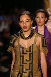Models walk the runway in a Li Jon Sculptured Couture design at the Art Hearts Fashion show during MBFW Fall 2015 Stock Photos