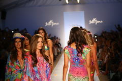 Models walk the runway at the Luli Fama during MBFW Swim 2015 Royalty Free Stock Photo