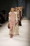 Models walk the runway stock photo