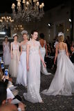 Models walk the runway at the Mira Zwillinger Spring 2015 Bridal collection show Royalty Free Stock Photos