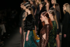 Models walk the runway at the Monique Lhuillier fashion show during MBFW Fall 2015 Royalty Free Stock Images
