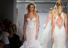 Models walk the runway during the Prina Tornai Fall/Winter 2016 Couture Bridal Collection. NEW YORK, NY - OCTOBER 12: Models walk the runway during the Prina royalty free stock photography