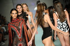 Models walk the runway at Rocky Gathercole Runway during Art Hearts Fashion Miami Swim Week Stock Photos