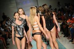Models walk the runway at Rocky Gathercole Runway during Art Hearts Fashion Miami Swim Week Stock Image