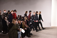 Models walk the runway at Tim Coppens fashion show during the New York Fashion Week Men's Fall/Winter 2016. NEW YORK, NY - FEBRUARY 03: Models walk the runway at stock image