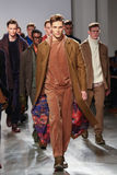 Models walk the runway wearing Perry Ellis Fall 2015 Royalty Free Stock Photography