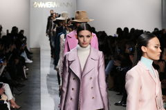 Models walk the runway at Zimmermann fashion show during Mercedes-Benz Fashion Week Fall 2015. NEW YORK, NY - FEBRUARY 13: Models walk the runway at Zimmermann Royalty Free Stock Image
