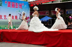 Pengzhou, China: Models on Fashion Runway Stock Photography