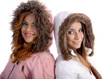 Models in warm clothes Royalty Free Stock Photo