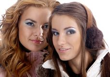 Models in warm clothes Stock Images