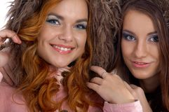 Models in warm clothes Royalty Free Stock Image
